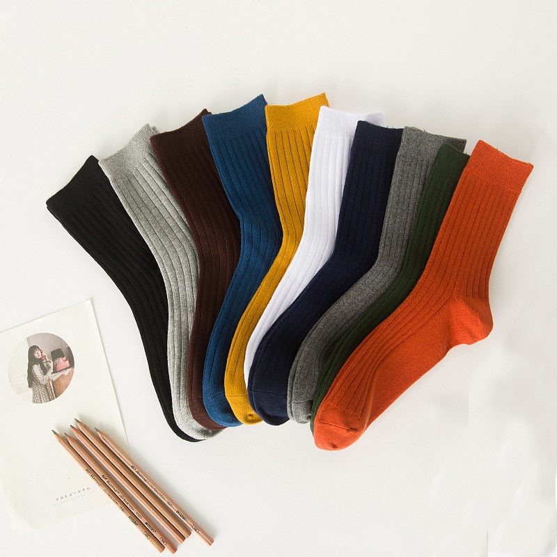 Socks for men cotton solid color crew sock Unisex male mark formelle socks spring summer man casual socks meias wholesale 2019