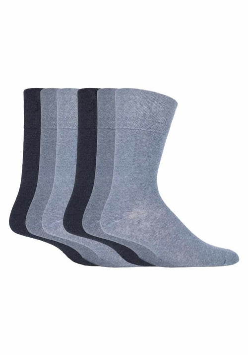 6 Pack Mens Gentle Grip Non Elastic Socks 12-14 UK