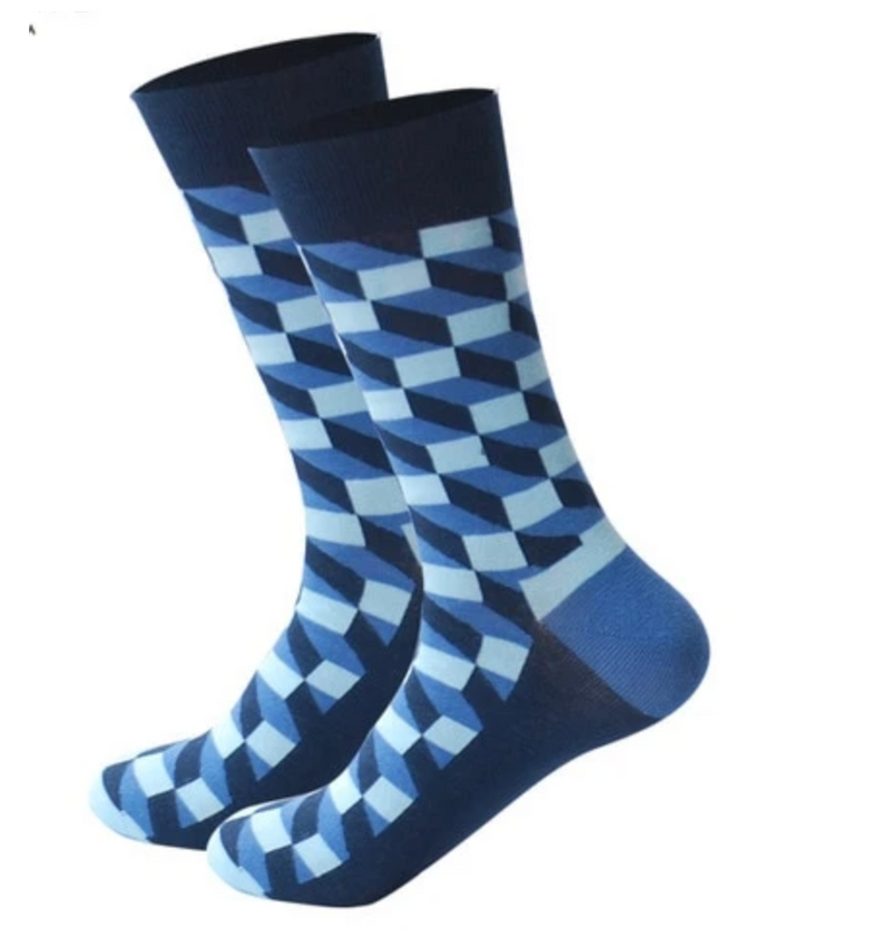 Mens Blue Long Sock 1