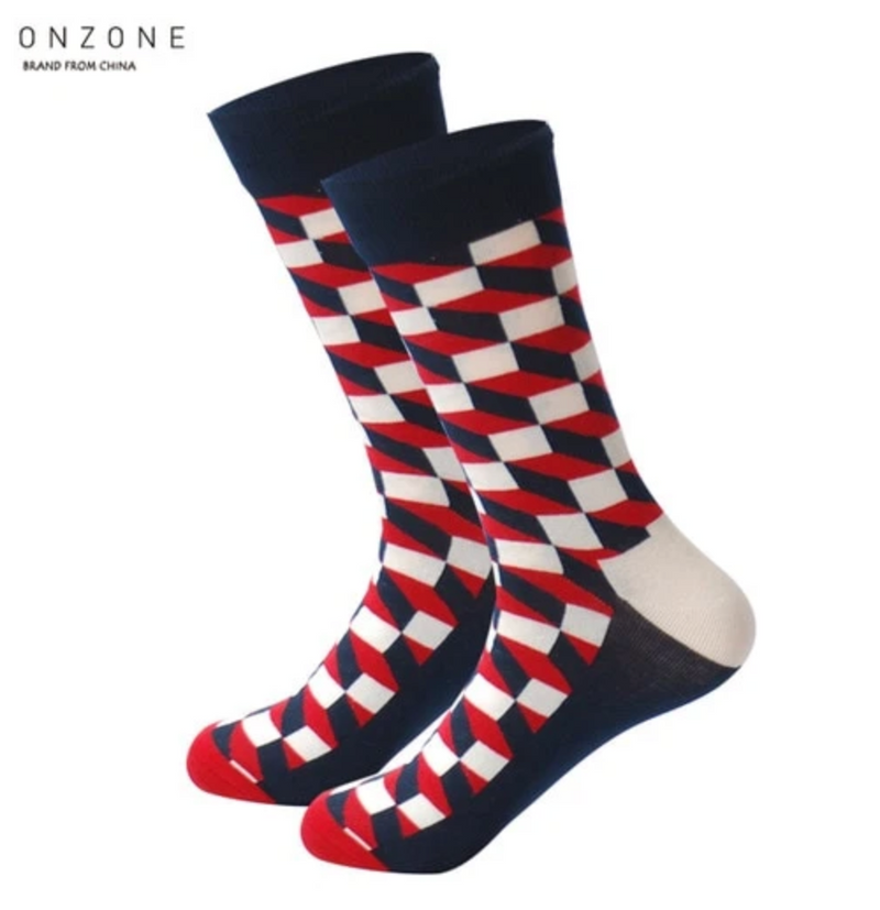 Long 3D Socks - Blue, Red, White