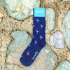 Flamingo Socks - Men's Mid Calf - Pink on Navy