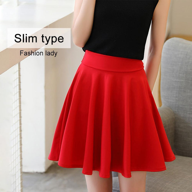 A-line Elastic Waist Pleated Shorts Skirts