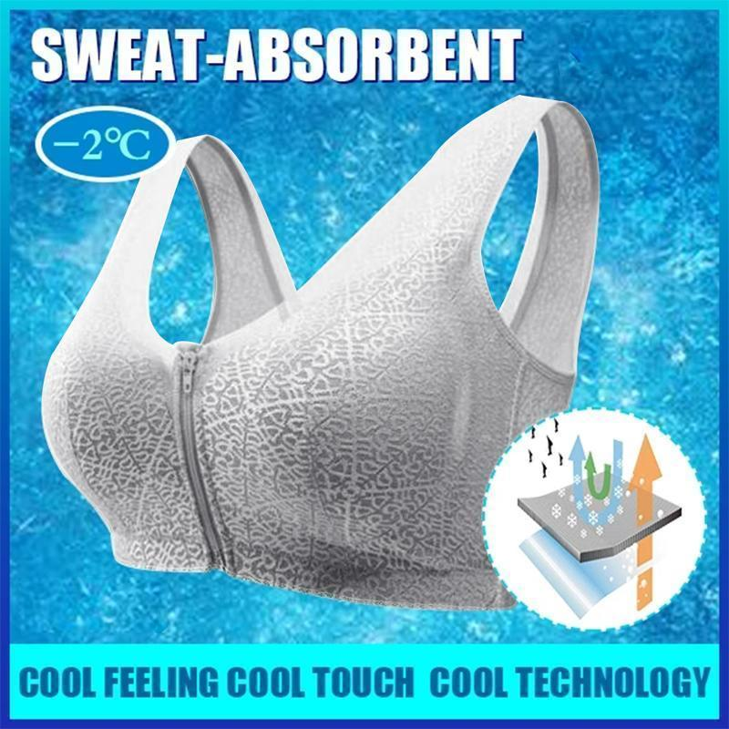 Front Zipper Breathable Bra