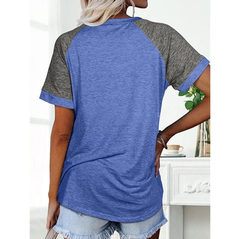 Loose Round Neck Raglan Sleeve Contrast T-shirt