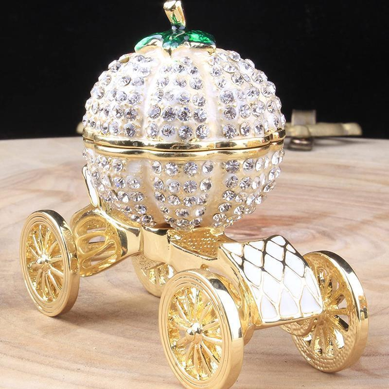 Pumpkin Carriage Rhinestones Jewelry Box