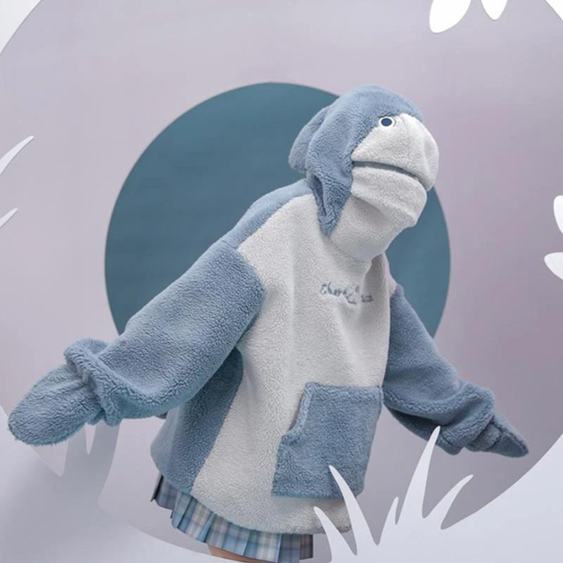 Shark Embroidery Zipper Letter Plush Hoodie