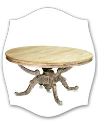 french round scroll pedestal table
