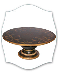 black scroll pedestal dining table