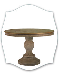 rustic wood top pedestal table