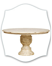 white french round pedestal table