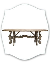 french farmhouse scroll stretcher table