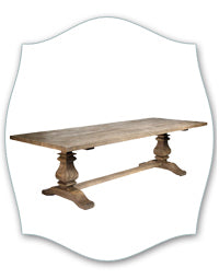 rustic wood trestle dining table