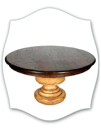 wood top painted pedestal table