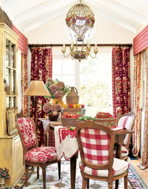 Red French country dining room