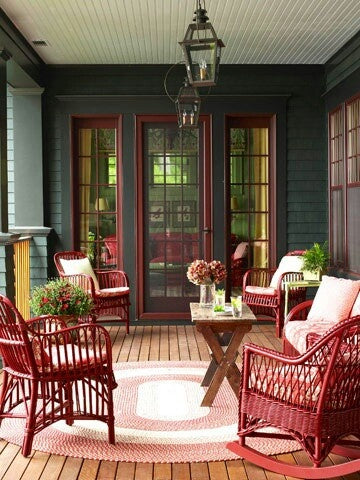 red painted chairs