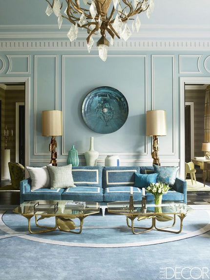 French blue cosmo chic living room
