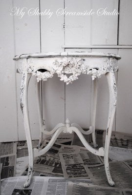 shabby chic round accent table