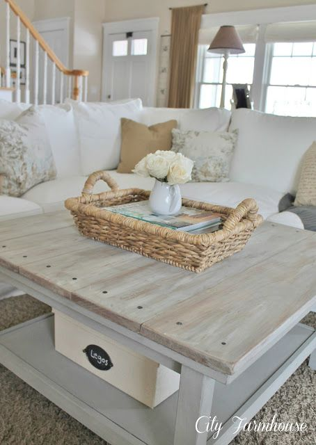 square wood plank cottage coffee table with lower shelf