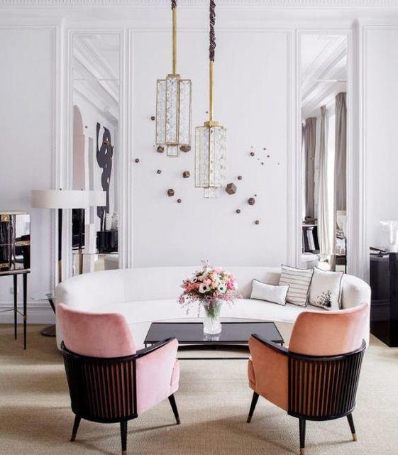Art Deco Living Room with Pink Armchairs