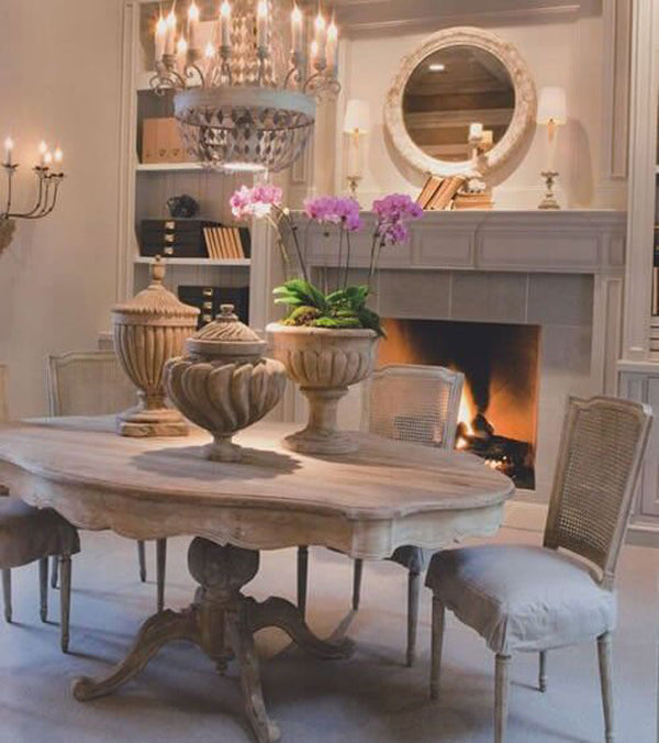 Elegant Provincial Dining Room with pedestal table