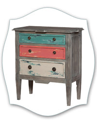 aqua and coral coastal chest