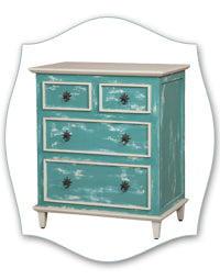 coastal blue distressed side chest