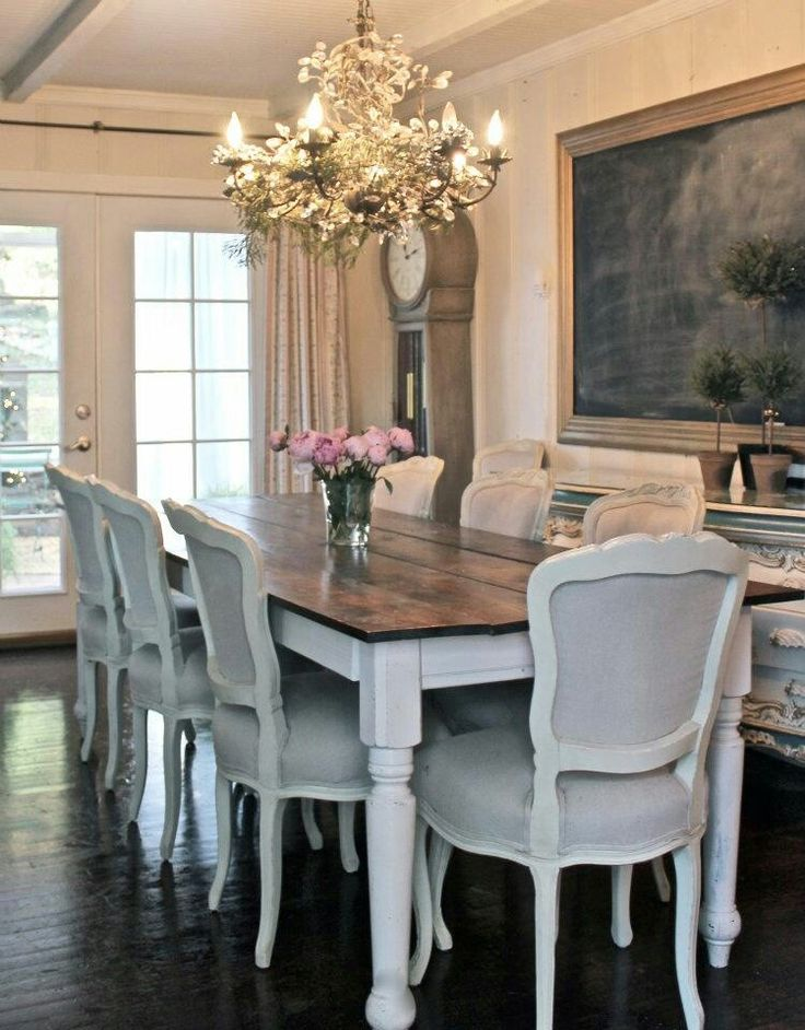 A rustic plank table is a French farmhouse decorating essential.
