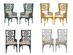 bamboo wing back chairs