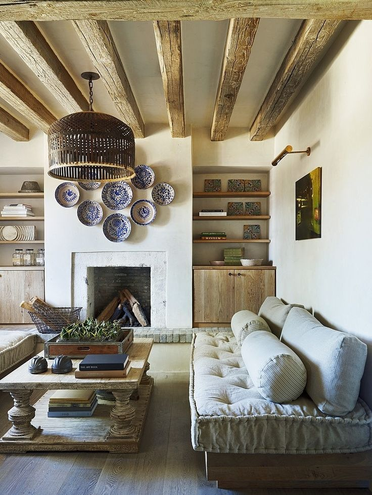A rustic farmhouse coffee table anchors this living space.