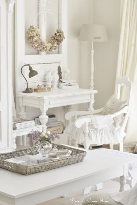 white shabby chic desk