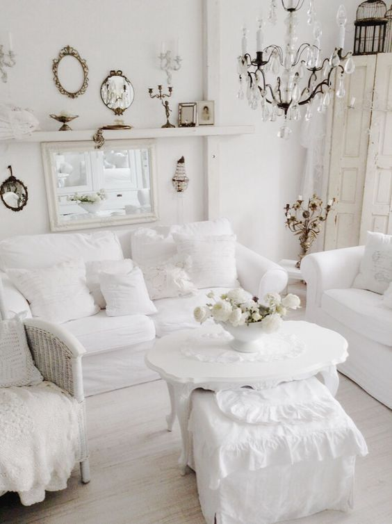 white shabby chic living room with vintage decor