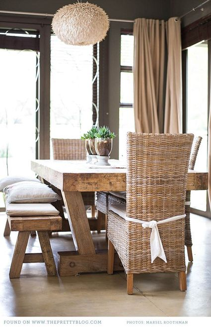 earthy, natural dining room