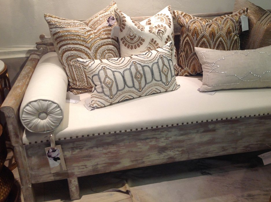 french farmhouse sofa with white wash distressing