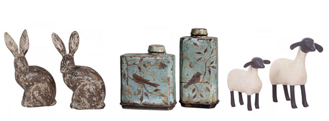 decorative animal sculptures and bottles