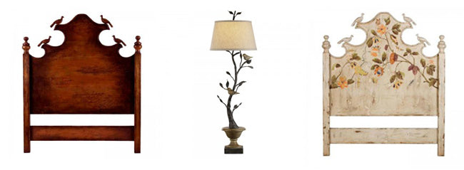 bird motif lamp and carved birds headboards from Belle Escape