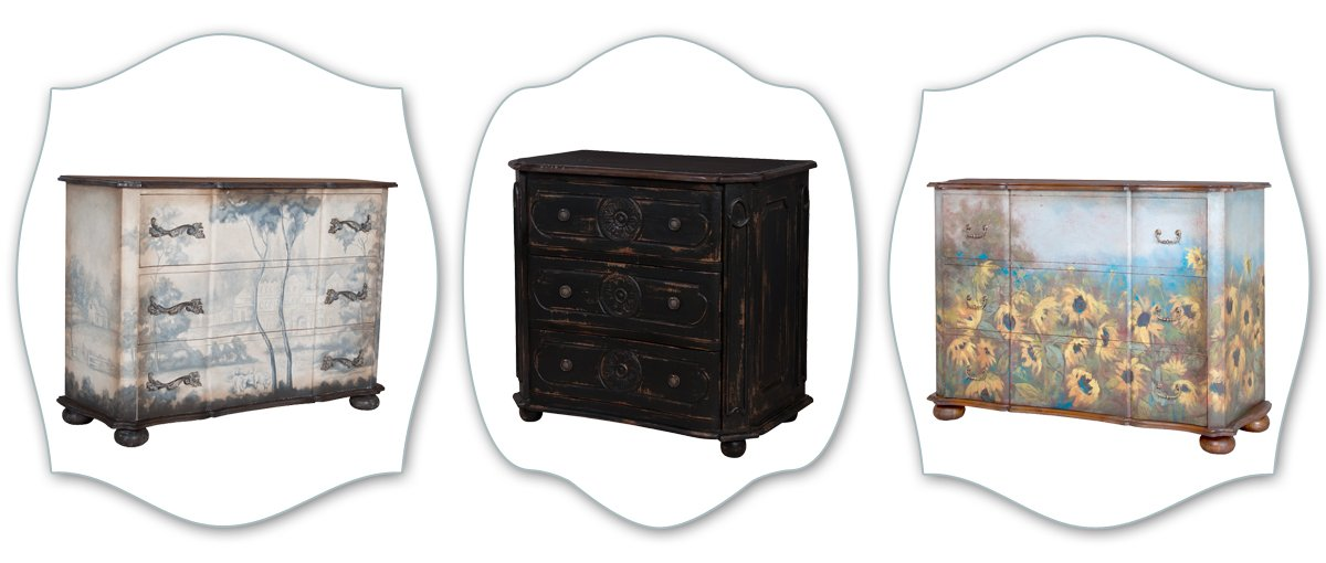 french painted chests