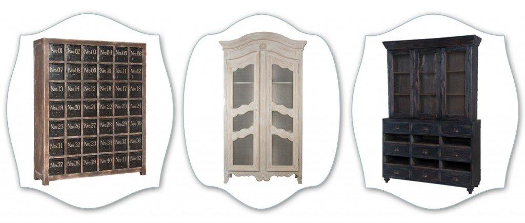 french country display cabinets