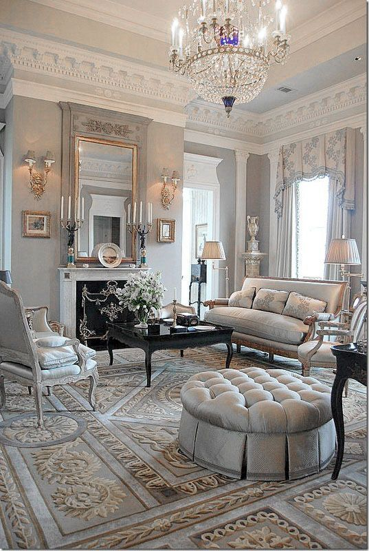 SIlvery blue elegant french living room