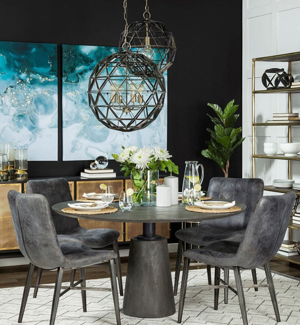 Modern Industrial Dining Area with round table