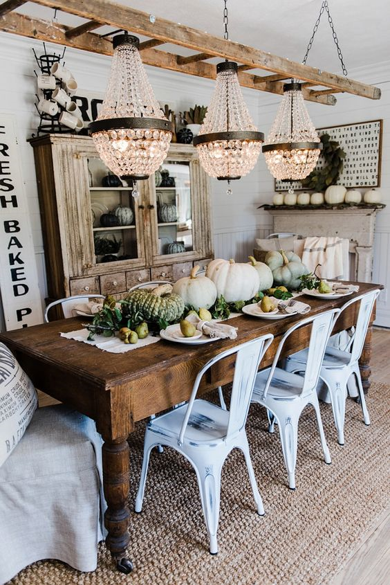 reclaimed dining table and rustic dining room