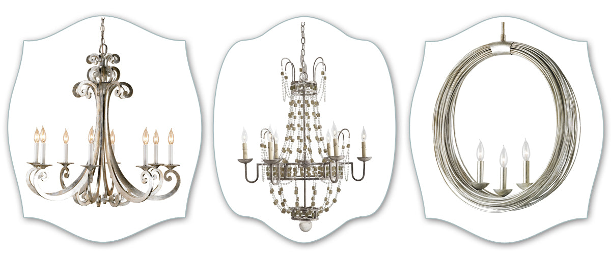 Silver and Gold chandeliers