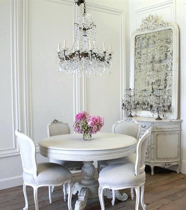 Shabby Chic Dining Room with round pedestal table