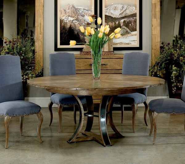 French Country Dining Room with round jupe table