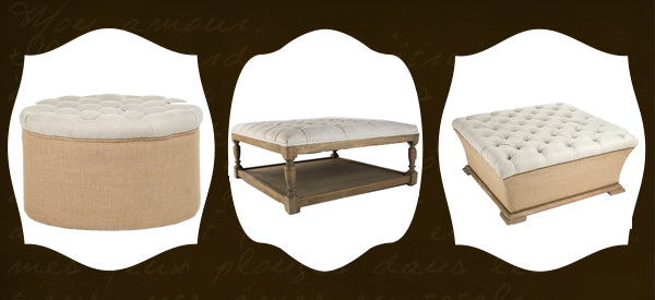 tufted French ottomans
