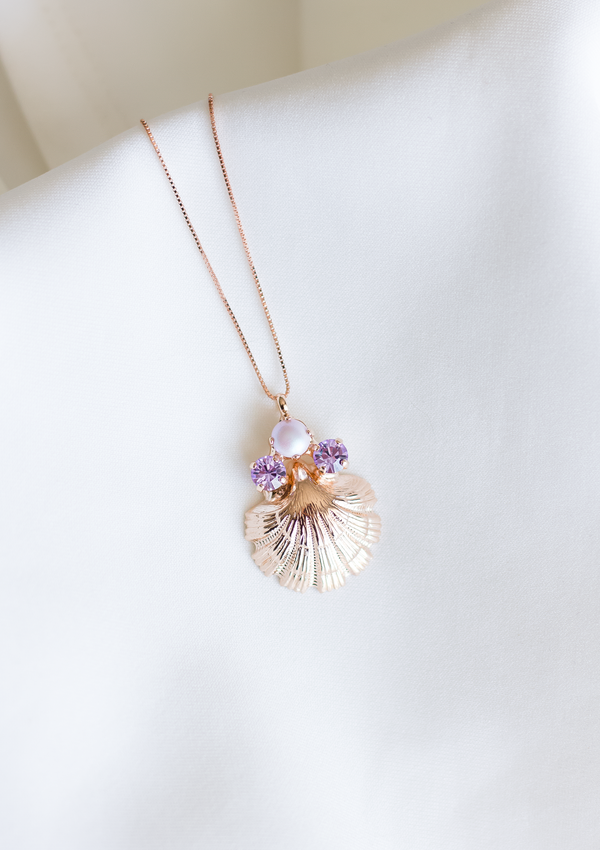 Coralia Pearl & Lilac necklace, jewelry designed and made by Sarah Gauci in Malta. 16 inch Sterling Silver Chain in Rose Gold.