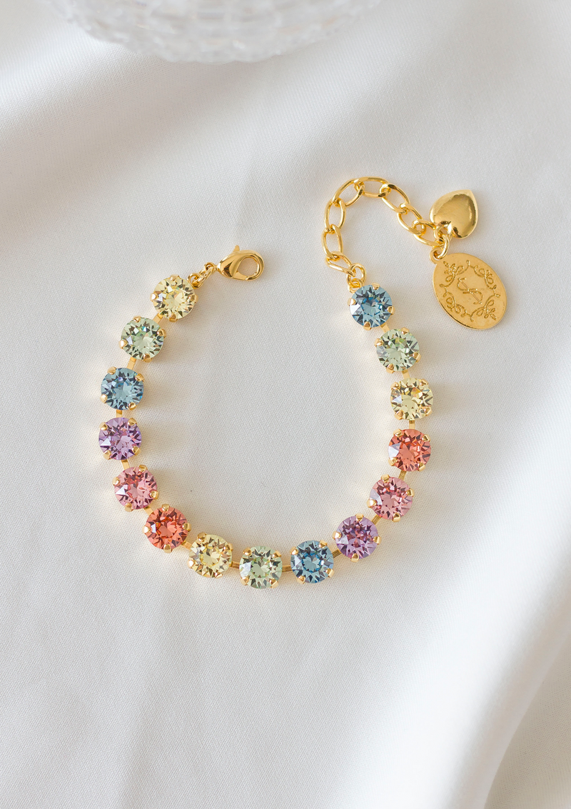 Sparkling Stars Bracelet, jewelry designed and made by Sarah Gauci in Malta. 8mm Pastel Crystals. 16K gold plated, Rose Gold or silver plated.