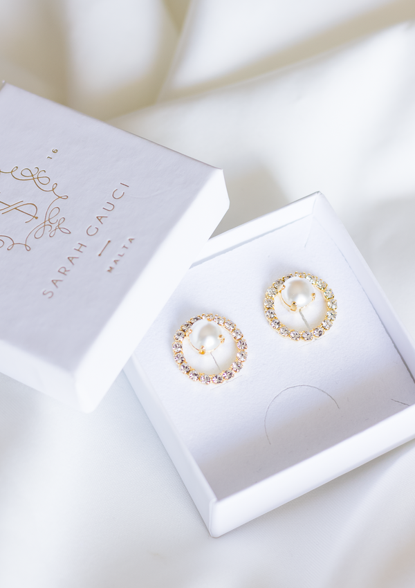 Cassiopeia Earrings with beautiful pearl crystals, jewelry designed and made by Sarah Gauci in Malta. Gold Plated. Crystal Pearls.