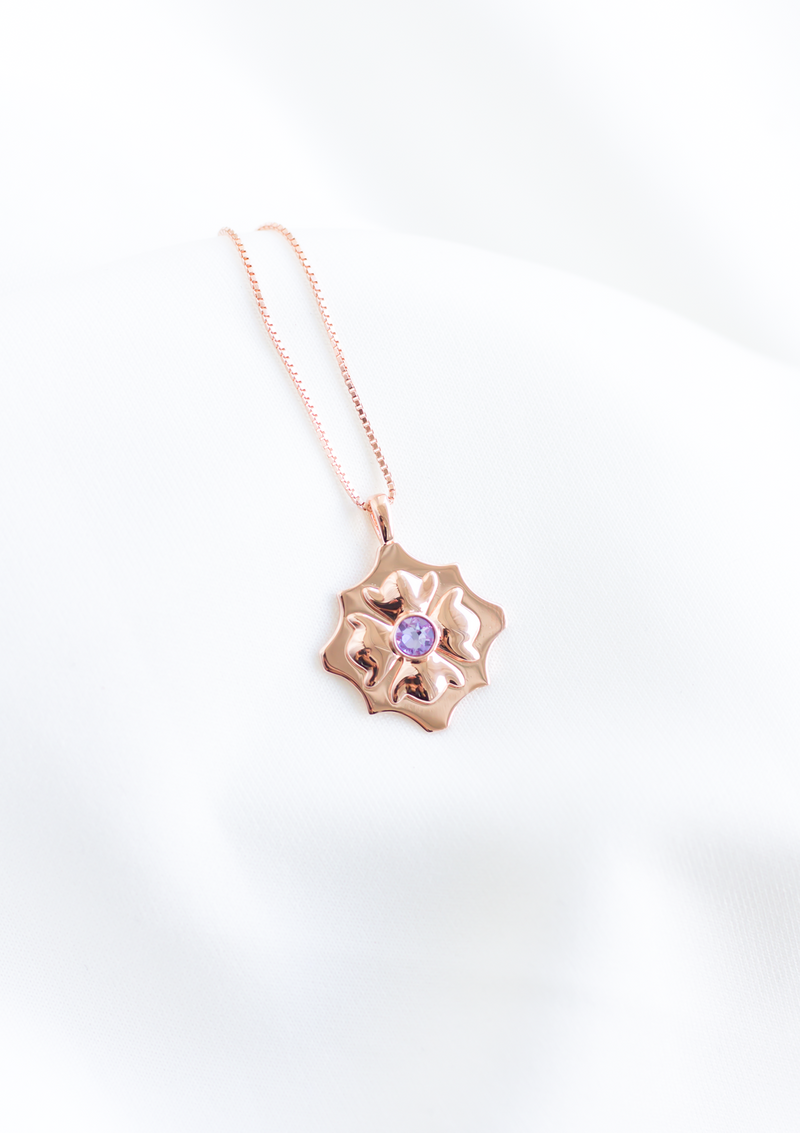 The Morocco Necklace in Rose Gold and Lilac