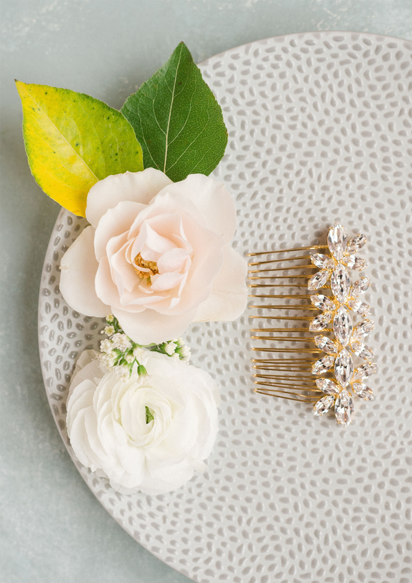 Stella Bridal Comb, jewelry designed and made by Sarah Gauci in Malta. 24K Gold Plated.