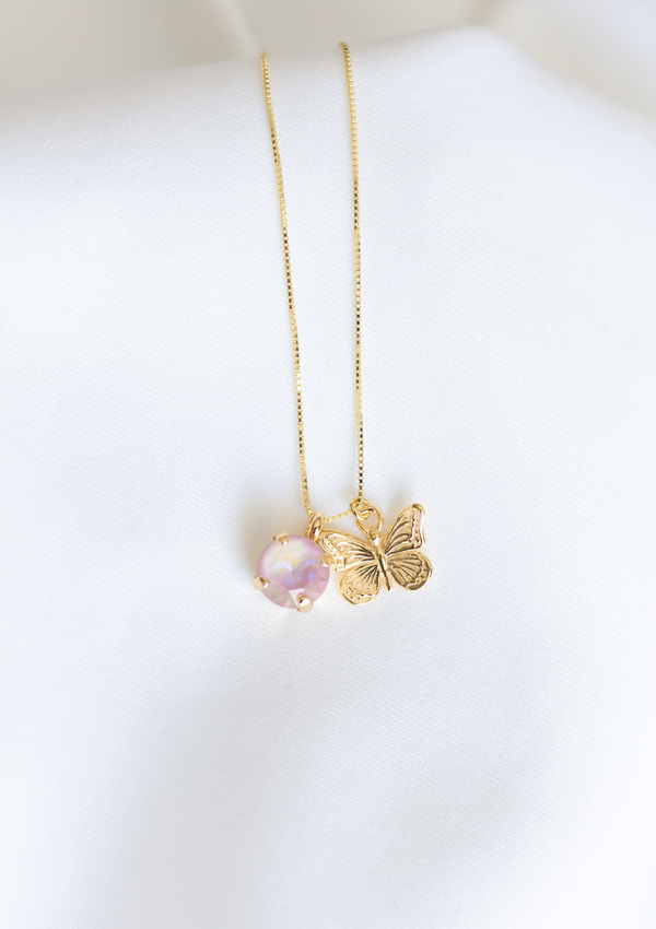 Discover our must have Molly Butterfly Necklace in Blush Aurora, jewelry designed and made by Sarah Gauci in Malta. 16 inch Sterling Silver Chain in Gold. Blush Aurora.